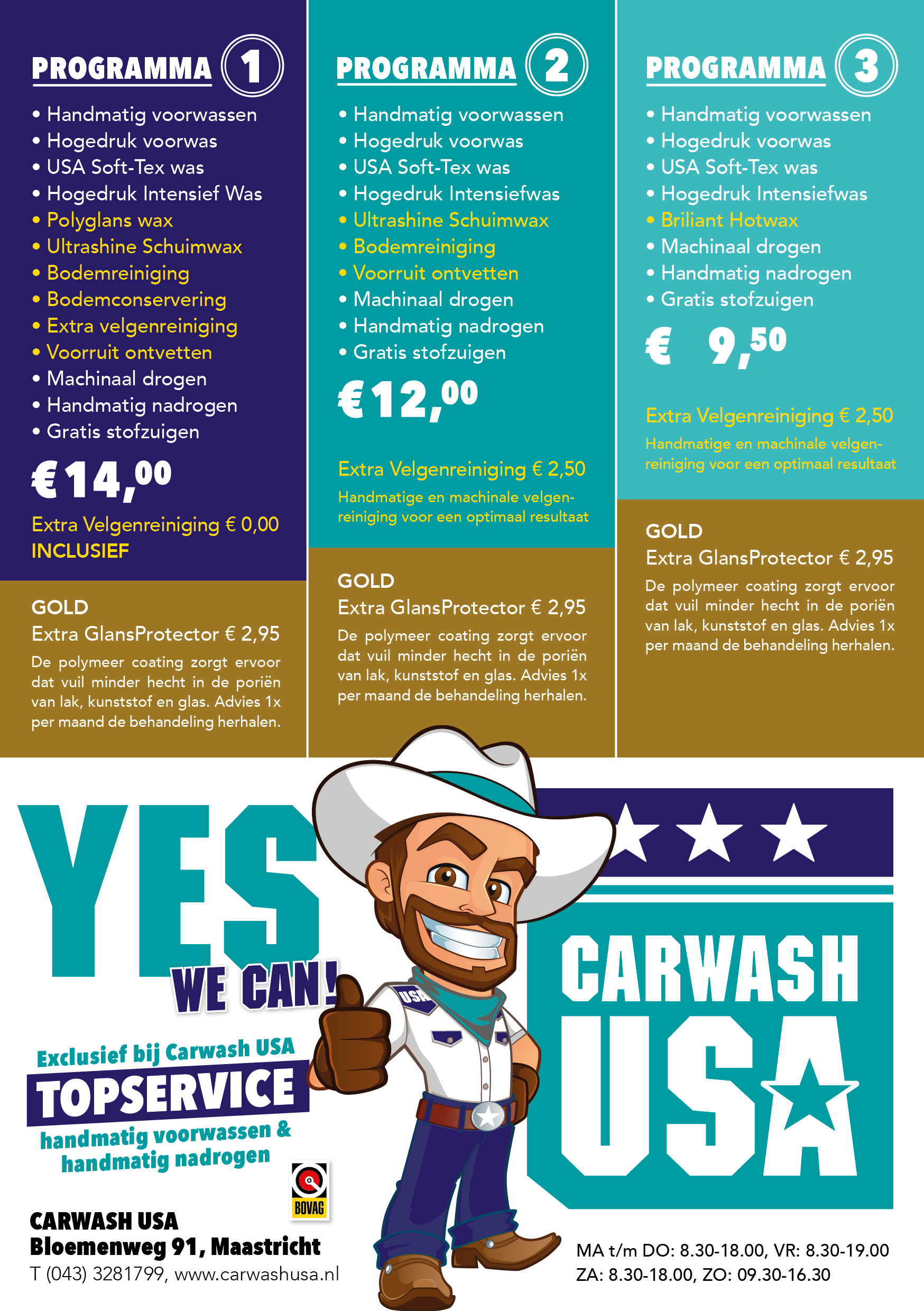 Carwash USA flyer programma's 2018